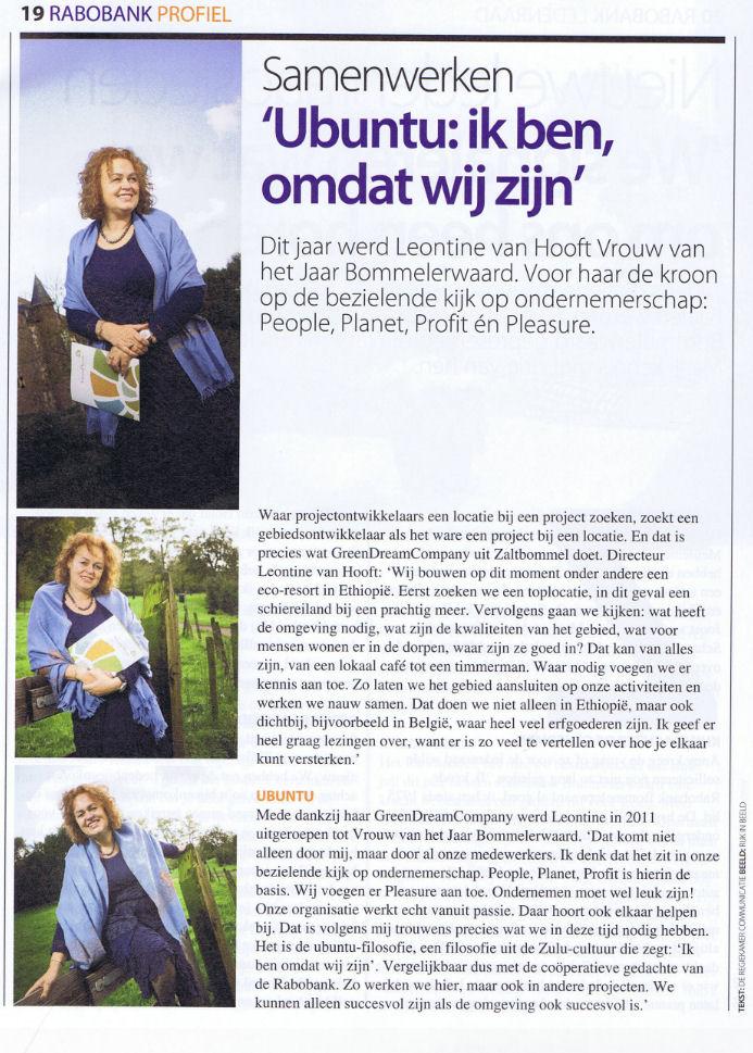 Leontine van Hooft in Rabobank Profiel over Ubuntu