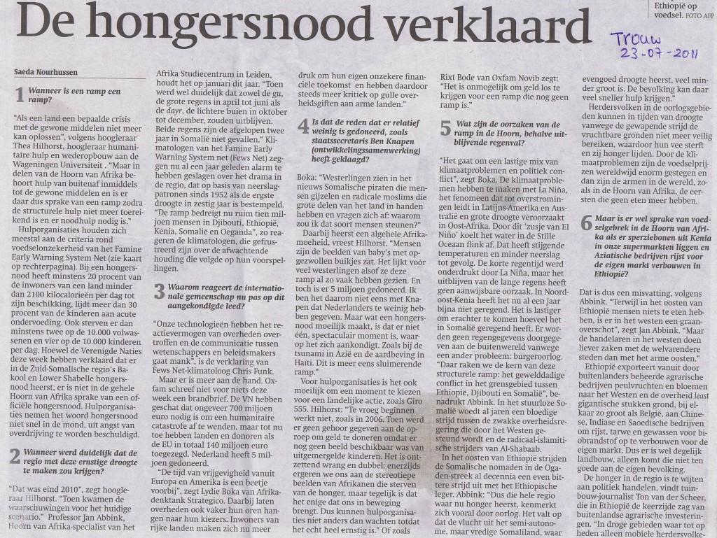 Trouw 2011 Hongersnood Hoorn Afrika verklaard