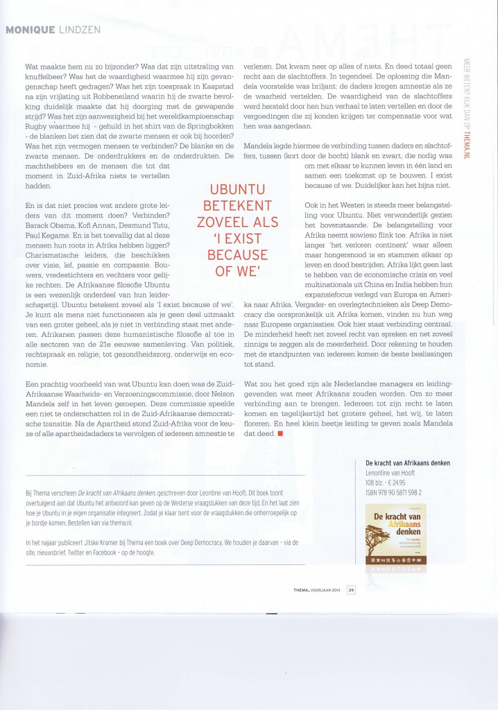 DE REGIE VAN MANDELA door Monique Lindzen (Thema)